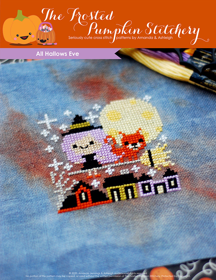 Image of All Hallows Eve Halloween counted cross stitch pattern featuring a purple haired witch on a broom with an orange cat above a village
