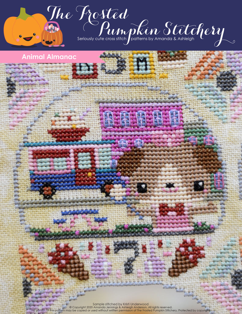 Animal Almanac Cross Stitch Pattern Cover. Dog wearing bow tie and apron scooping ice cream from his ice cream truck in downtown area.