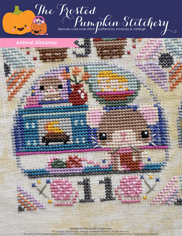 Animal Almanac Cross Stitch Pattern Cover. Image of mouse knitting in front of a cozy fireplace.
