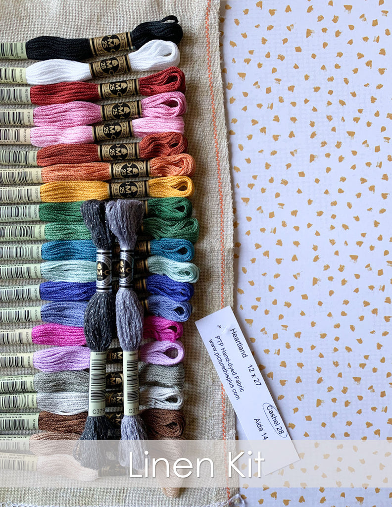 Animal Almanac Counted Cross Stitch Kit. Neutral linen fabric in Heartland from Picture This Plus fabrics with a rainbow of bright and punchy DMC threads on a confetti paper background.