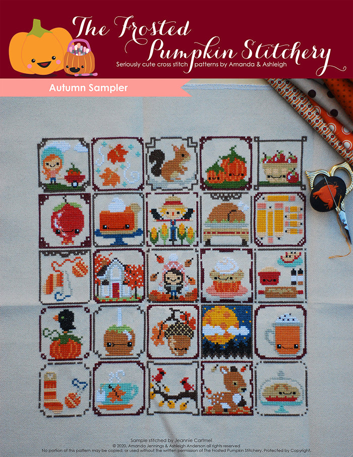 Autumn Sampler counted cross stitch pattern. Twenty-five squares each with an autumn motif. Examples would be a candy apple, a fawn, a pumpkin spice cupcake.