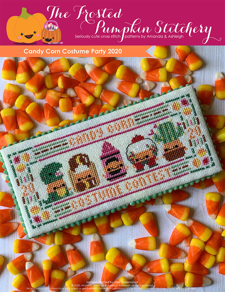 Image of Candy Corn Costume Party 2020 counted cross stitch pattern. Five little candy corns are in costumes. From left to right they are dressed as a t-rex, hot dog, pink crayon, gum ball machine and cactus.