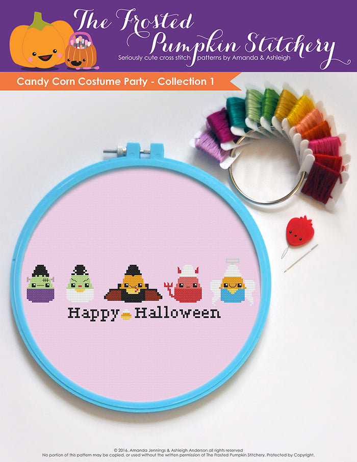 Image of Candy Corn Costume Party Collection One counted cross stitch pattern. Five candy corn in a horizontal line dressed as Frankenstein, the Bride of Frankenstein, Dracula, a devil and an angel. Bottom text reads Happy Halloween.