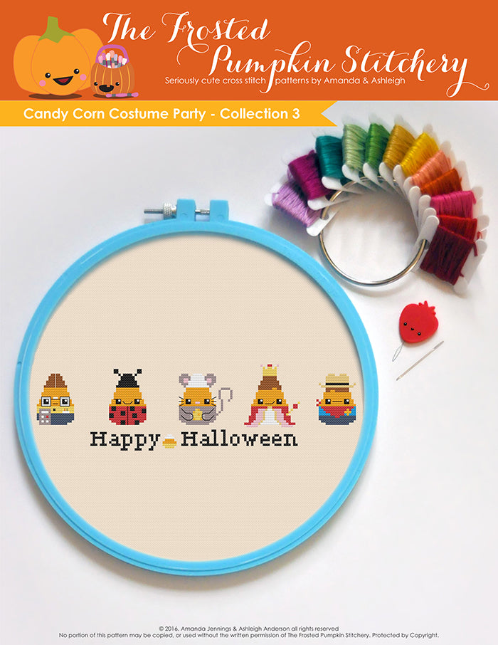 Image of Candy Corn Costume Party Collection One counted cross stitch pattern. Five candy corn in a horizontal line dressed as a nerd, a lady bug, a mouse, a princess and a cowboy. Bottom text reads Happy Halloween.