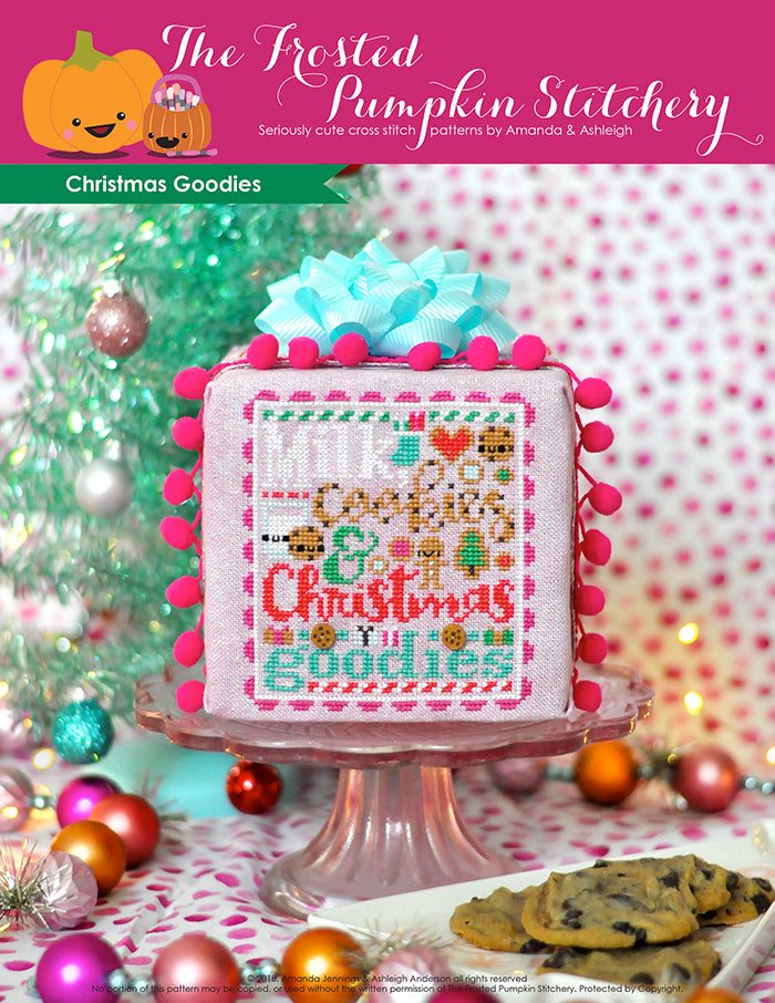 Christmas Goodies counted cross stitch pattern. Text reads milk, cookies and Christmas goodies in a cookie font.