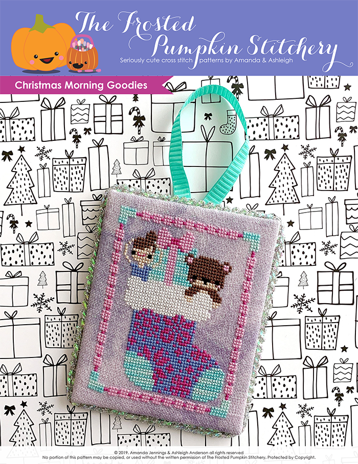 Christmas Morning Goodies counted cross stitch pattern. A ballerina doll, an aqua paper wrapped gift and a teddy bear peek out of a fair isle printed stocking.