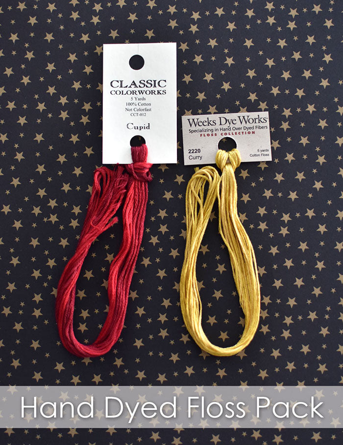 Hand-dyed embroidery floss pack with Classic Colorworks and Weeks Dye Works threads in Cupid (red) and Curry (yellow).