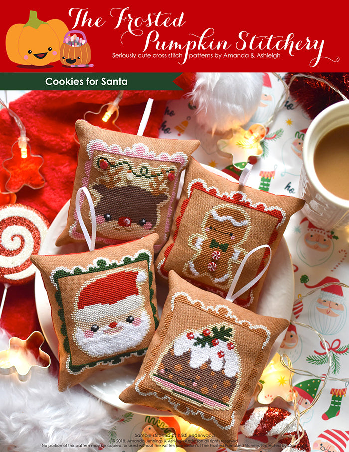 Cookies for Santa counted cross stitch pattern. Four gingerbread cookie inspired Christmas ornaments stitched on gingerbread colored fabric and turned into ornaments. Ornaments are Rudolph, Gingerbreadman, Figgy Pudding and Santa.