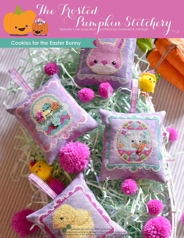 Cookies for the Easter Bunny counted cross stitch pattern. Four chubby cross stitch patterns finished as pillows stitched on purple fabric. A pink bunny, a basket of Easter eggs, an Easter egg with a bunny and a fuzzy chick.