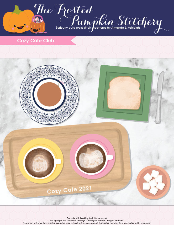 Cozy Cafe Club cross stitch pattern cover. An illustration of a flat lay with a tea cup, latte cups, toast and sugar cubes.