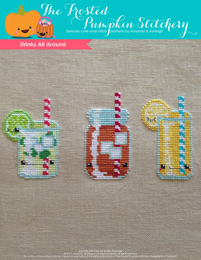 Drinks All Around Counted Cross Stitch Pattern. A mint mojito, an iced tea and a glass of lemonade.