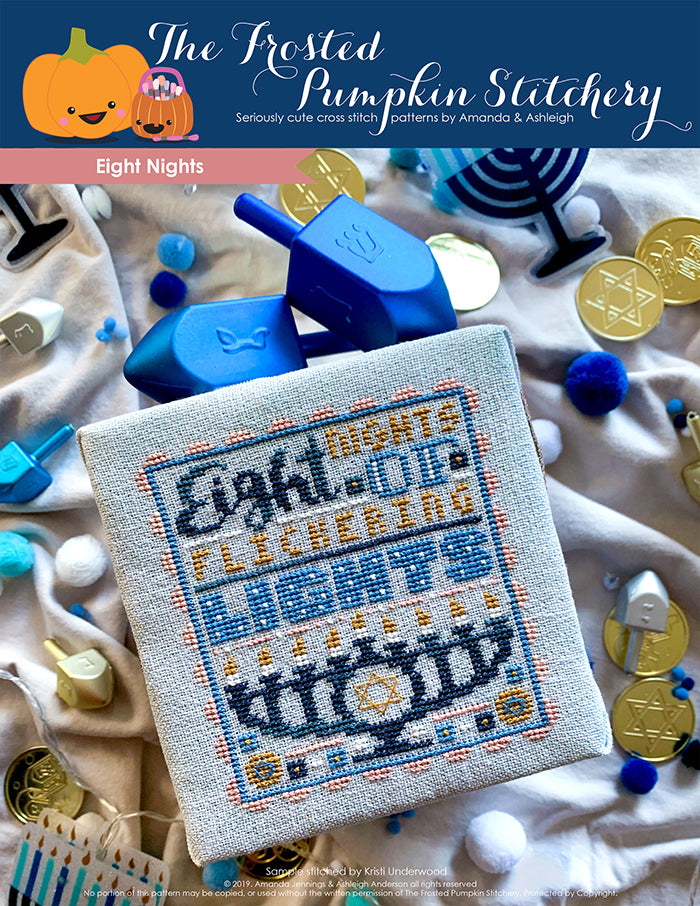 "Eight Nights Counted Cross Stitch Pattern. Text reads ""Eight nights of flickering lights"" with a menorah."
