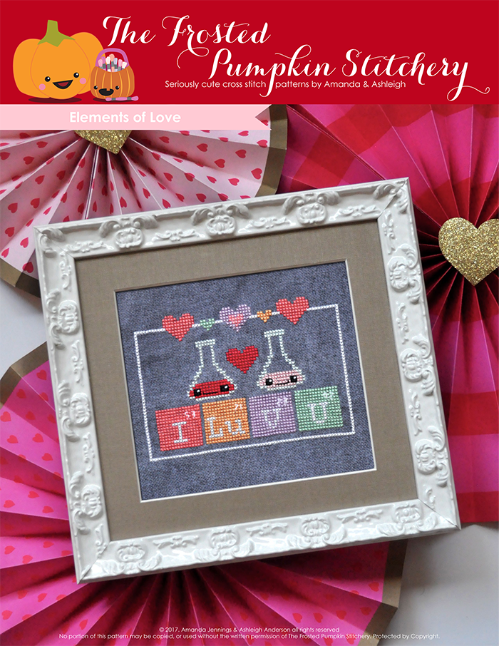 "Elements of Love counted cross stitch pattern. Periodic elements spell out ""I Lu V U""."