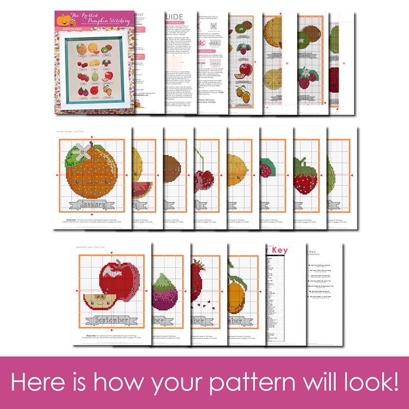 Fruit of the Month Cross Stitch Pattern