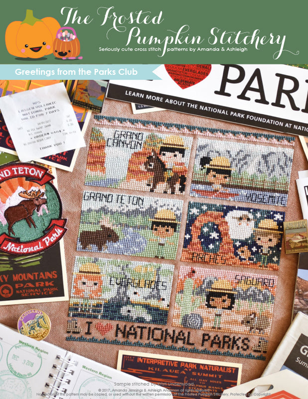 Greetings from the Parks Club Counted Cross Stitch Pattern. A cross stitch pattern featuring post cards from National Parks. The Grand Canyon, Yosemite, Grand Teton, Arches, Everglades and Saguaro are the Parks in the pattern. Each postcard has a ranger.
