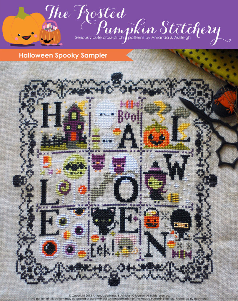 Halloween Spooky Sampler counted cross stitch pattern. Lace border with skulls that spells out Halloween.