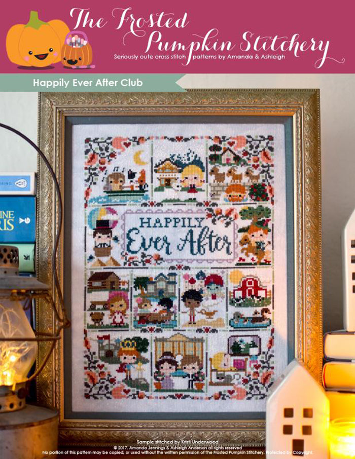 "Happily Ever After counted cross stitch pattern. A framed cross stitch pattern with twelve characters from stories. Text reads ""Happily Ever After""."