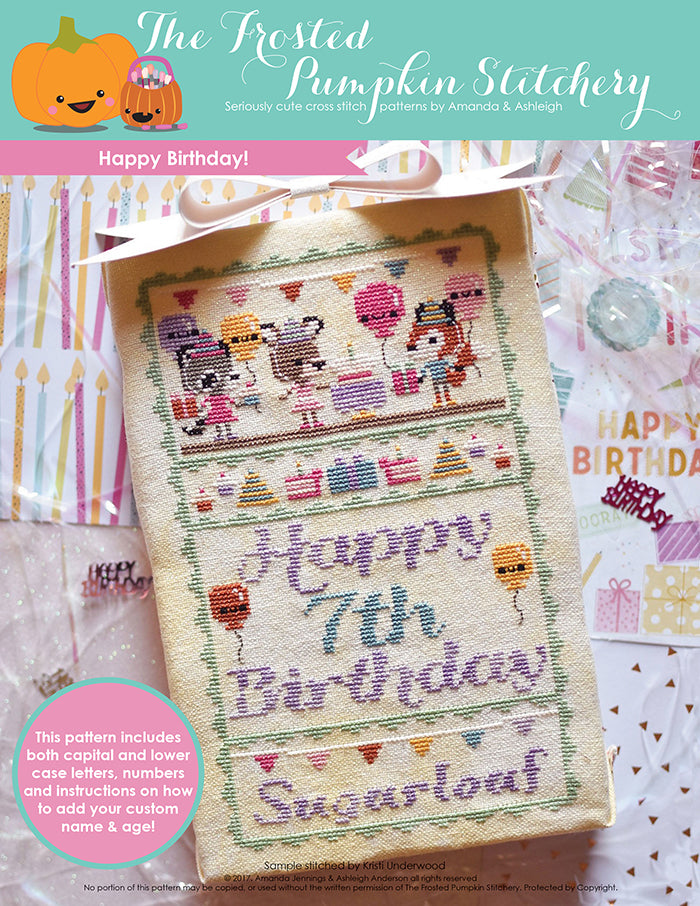 "Happy Birthday counted cross stitch pattern. Three animals are dressed for a party and holding presents and balloons. Text reads ""Happy 7th Birthday Sugarloaf""."