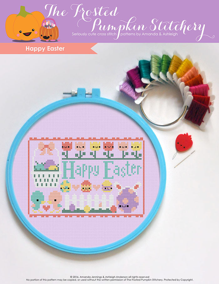 "Happy Easter counted cross stitch pattern. Text reads ""Happy Easter""."