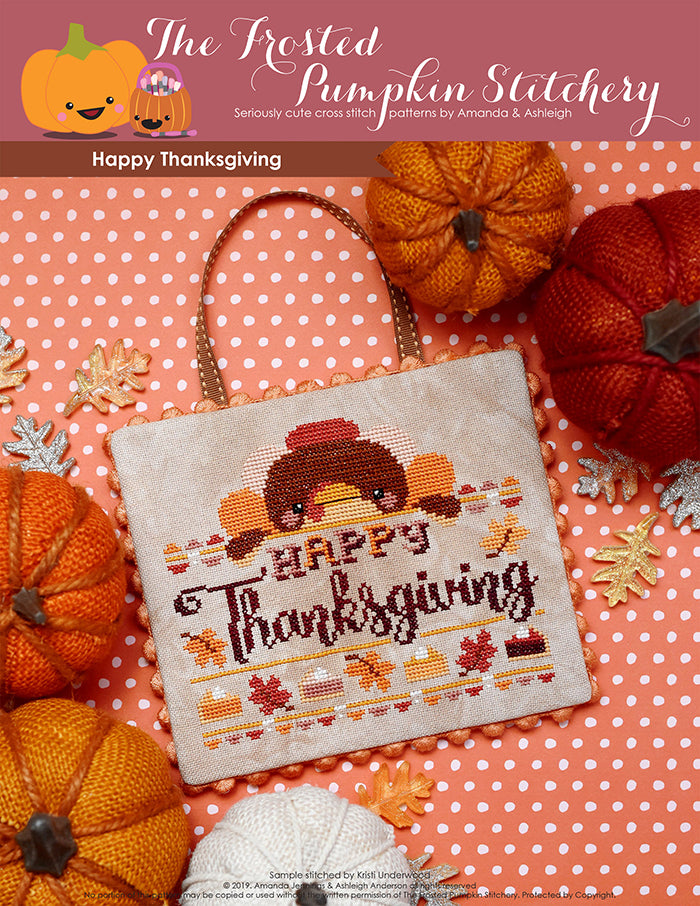 "Happy Thanksgiving counted cross stitch pattern. Tom the Turkey peeks out over a banner that says ""Happy Thanksgiving""."