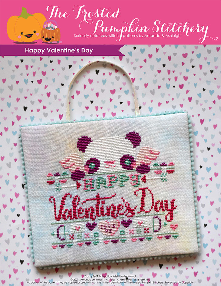 "Happy Valentine's Day Cross Stitch Pattern. This pattern features a panda dressed as cupid, bow and arrows, a ""cutie pie"" conversation heart  and the phrase ""Happy Valentine's Day."