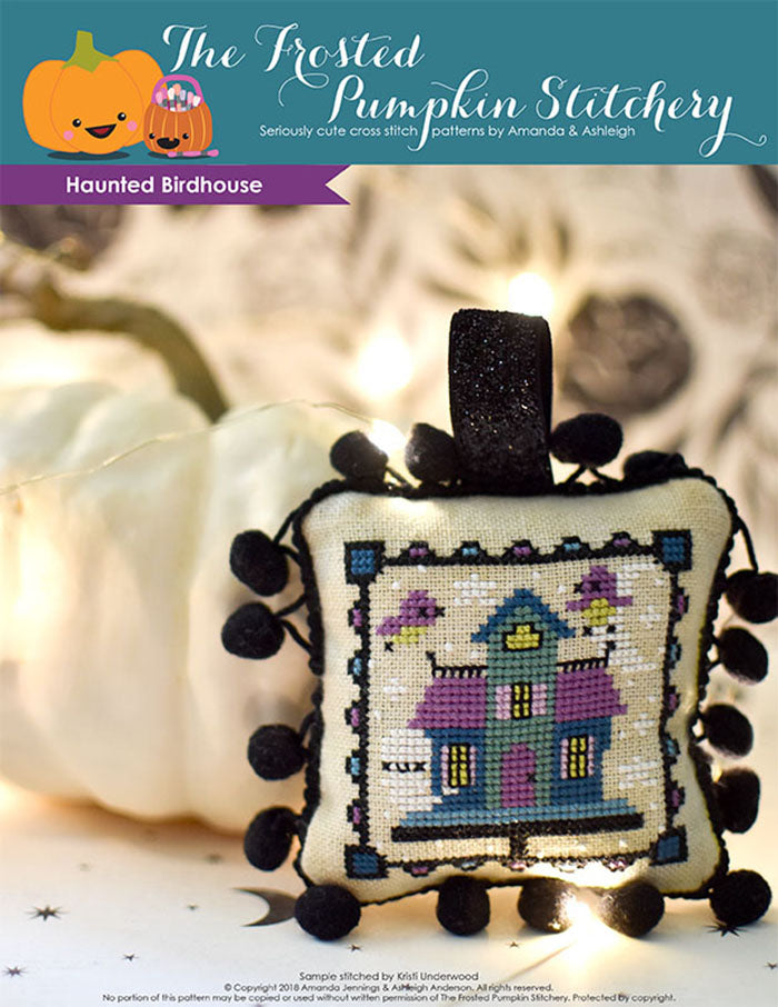 Haunted Birdhouse Halloween counted cross stitch pattern. Purple, blue and teal birdhouse with ghosts and birds flying out.