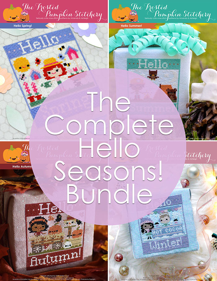 "The Complete Hello Seasons Bundle. Hello Spring, Hello Summer, Hello Autumn and Hello Winter. Text reads ""The Complete Hello Seasons Bundle""."