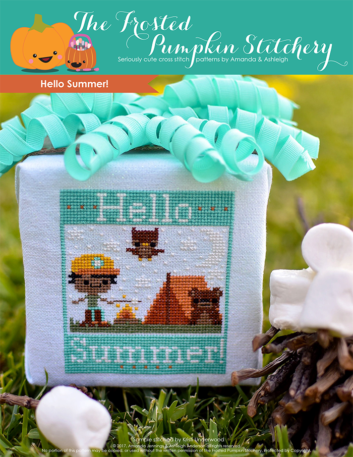 Hello Summer counted cross stitch pattern. A brown skinned boy in an orange cap is tent camping, roasting a marshmallow and hanging out with an owl and bear.