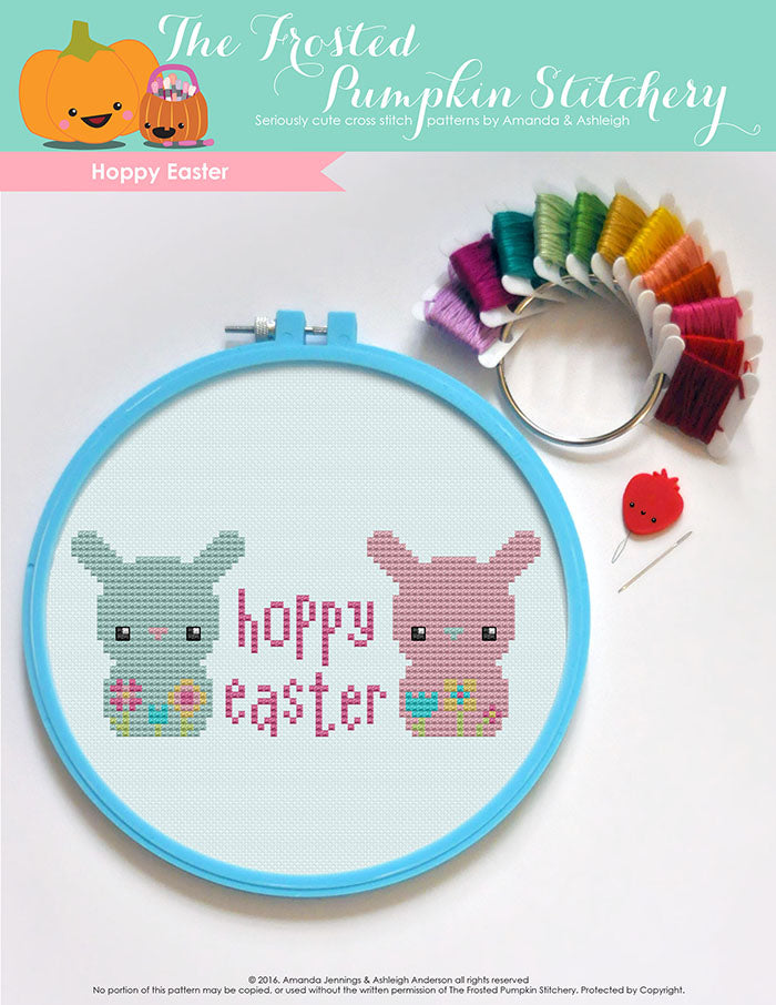 "Hoppy Easter counted cross stitch pattern. Two bunnies with the text ""Hoppy Easter"" in between them."