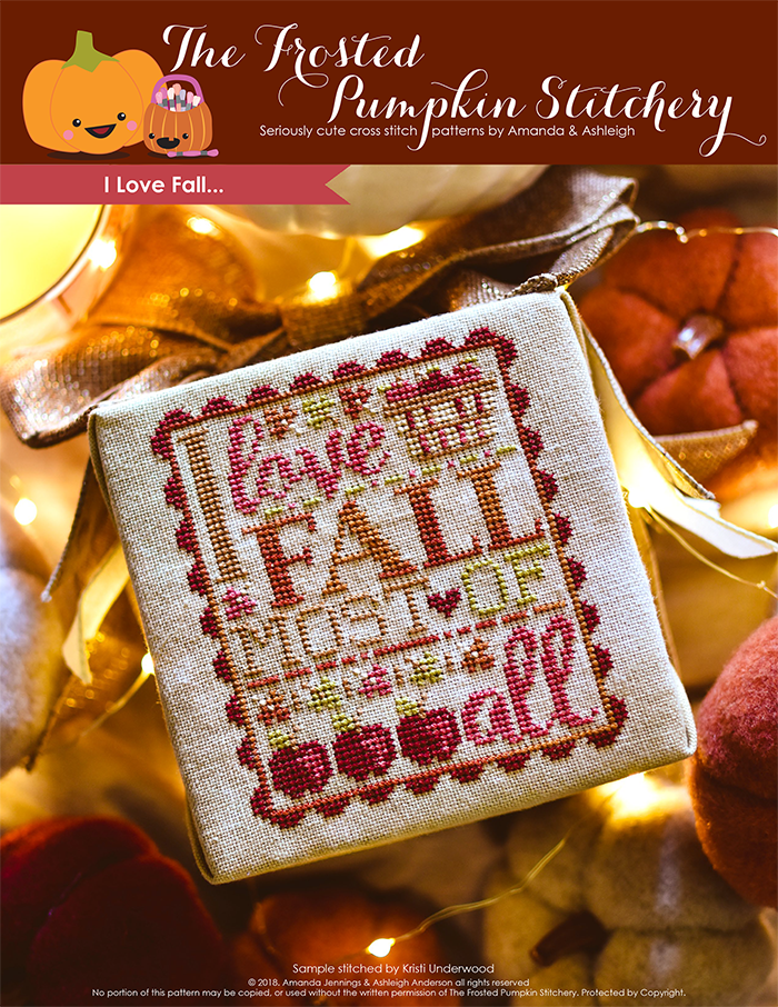 "I love Fall counted cross stitch pattern. Text reads ""I love fall most of all"" in variegated embroidery floss with a basket of apples and surrounded by apples."