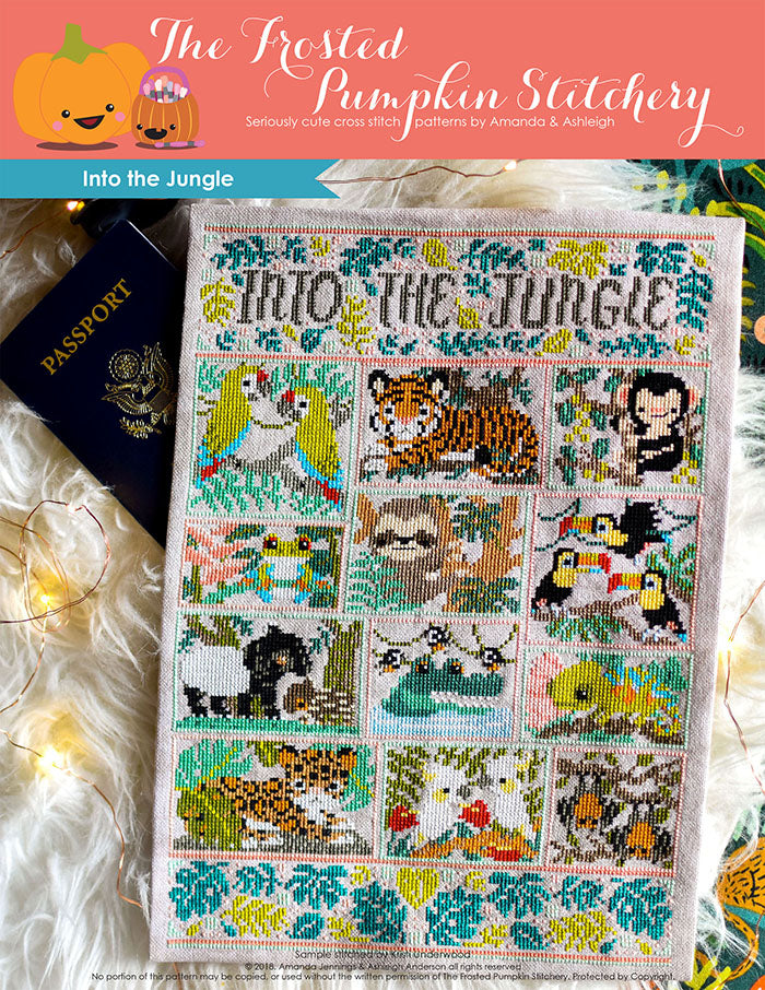"Into the Jungle counted cross stitch pattern. Text reads ""into the jungle"". Chart of macaws, sloth, monkey, chameleon and other jungle animals."