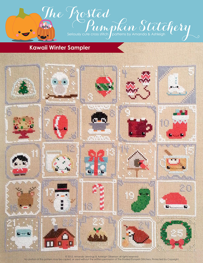 Kawaii Winter Sampler Counted Cross Stitch Pattern. Numbers 1-25 with various items in squares in this Christmas countdown pattern.