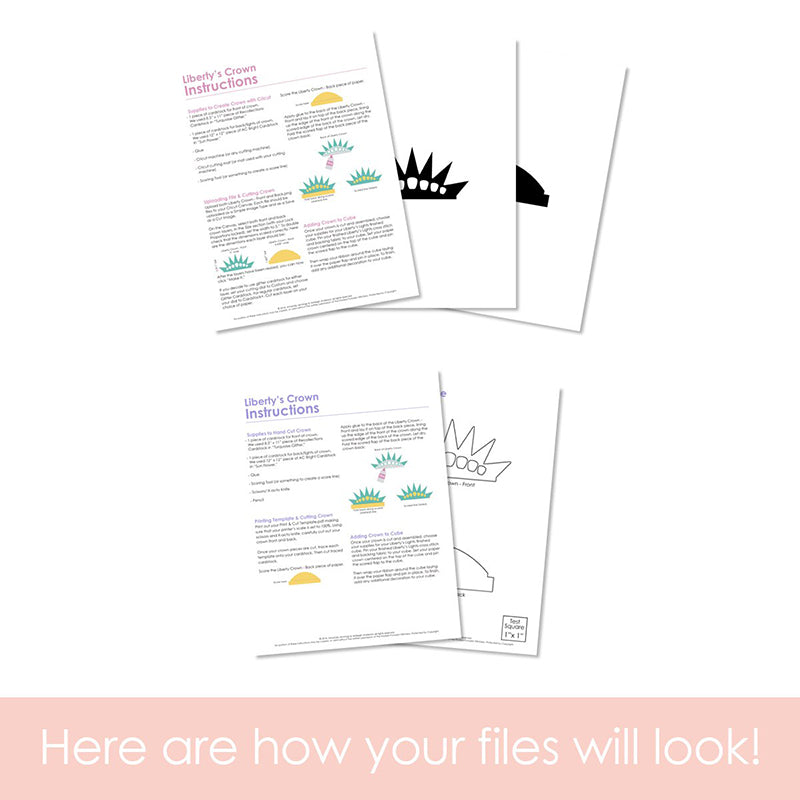 Graphic of how your PNG cut file and instructions will look. The pages are fanned out.