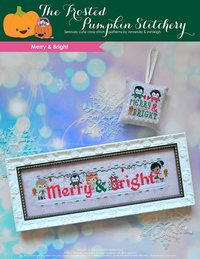 Merry and Bright counted cross stitch pattern. Three friends are decorating for the holidays with some penguins. One piece is in a white frame and the other is a scissor fob.
