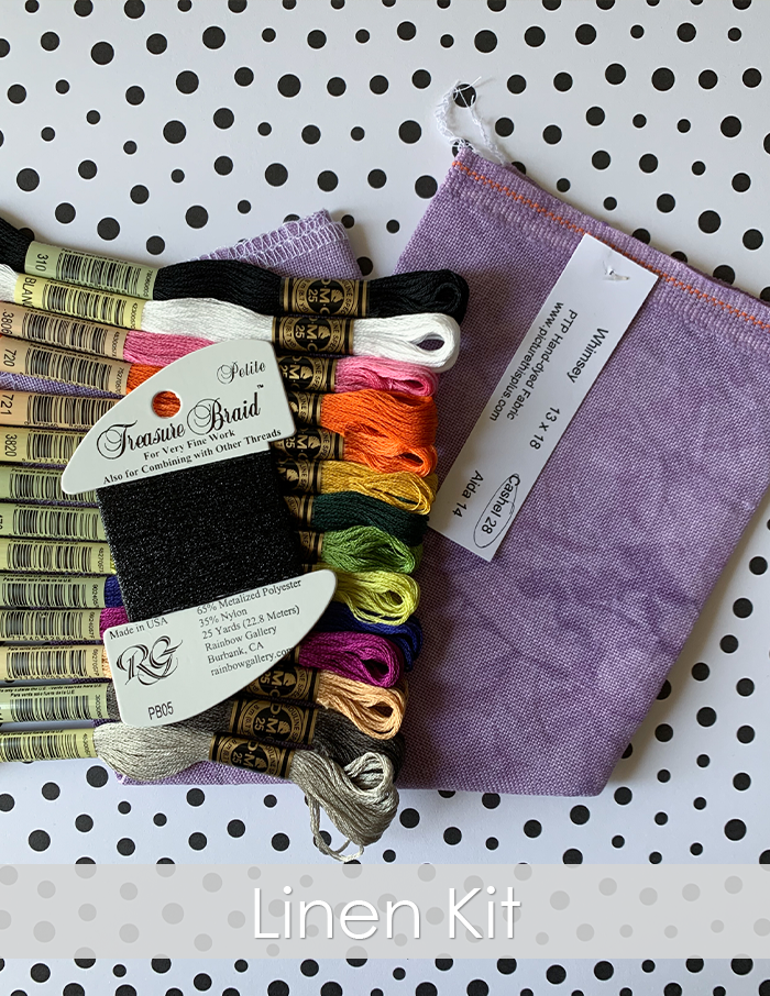 Midnight Way linen kit. 14 skeins of DMC embroidery floss on top of purple linen fabric with black Petite Treasure Braid. Polka dot background