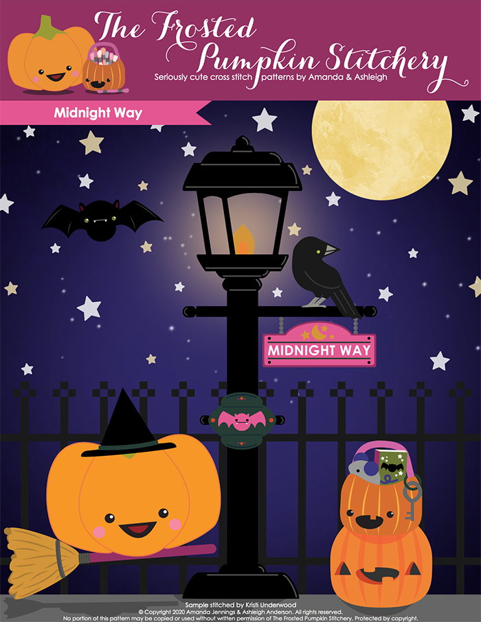 "Graphic cover image of a purple background with stars and a moon. A lit lamp post with a crow sits on it, there is a sign hanging that says ""Midnight Way"". Sugarloaf is dressed as a witch riding a broom and Jack is holding books and a mouse in his pail."