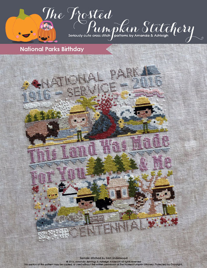 National Parks Birthday Club counted cross stitch pattern. Image of four park rangers exploring parks.