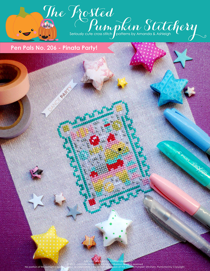 Pen Pals No 206 Pinata Party counted cross stitch pattern. A rainbow colored pinata surrounded by candy.