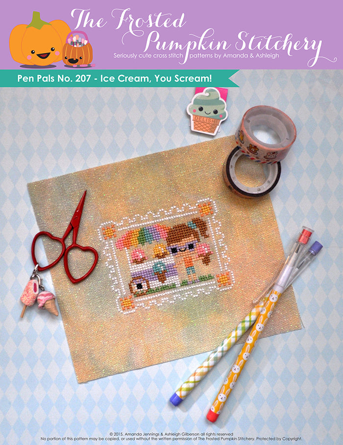 Pen Pals No. 207 Ice Cream, You Scream Cross Stitch Pattern