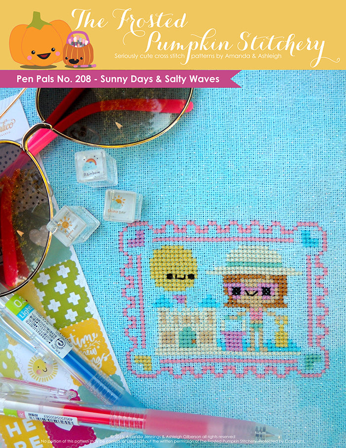 Pen Pals No 208 Sunny Days and Salty Waves counted cross stitch pattern. A girl with pale skin, pink sunglasses and a sun hat is building a sandcastle.