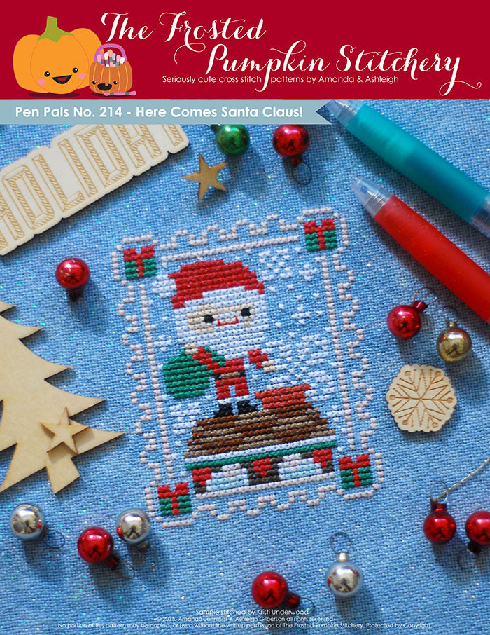 Pen Pals No 214 Here Comes Santa Claus counted cross stitch pattern. Santa is coming down the chimney with a big green bag of presents.