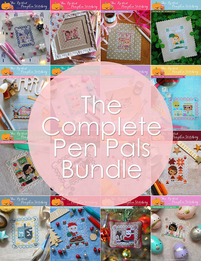 The Complete Pen Pals Bundle. Twelve Pen Pals pattern covers in a mosaic.