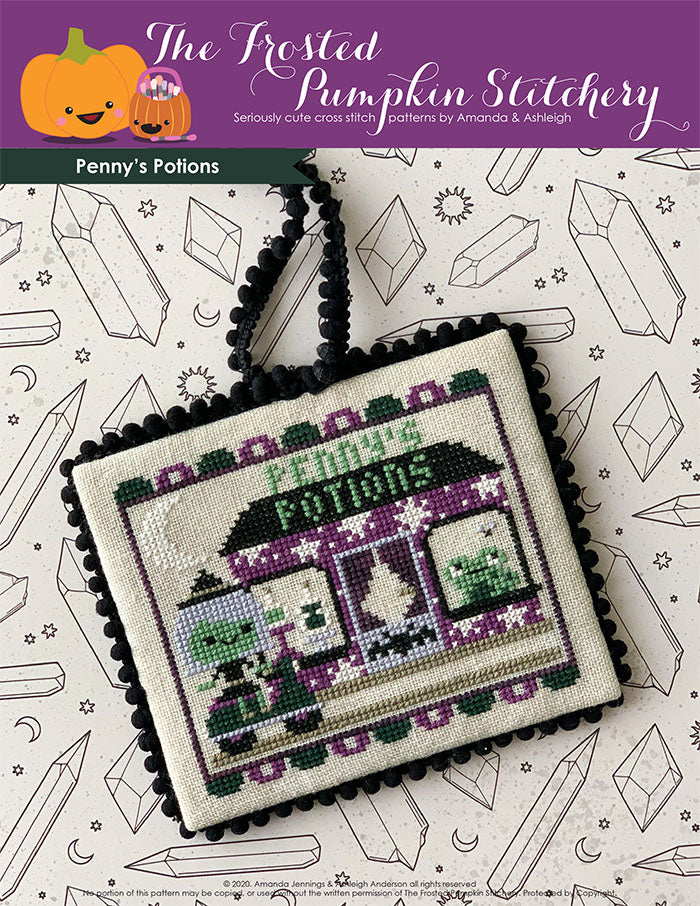 Image of Penny's Potions Cross Stitch Pattern.  Penny the silver haired witch is riding a green scooter on her way to her shop called Penny's Potions. Her shop features potion bottles and a frog trying to catch fly in the windows along with a bat on the front door.