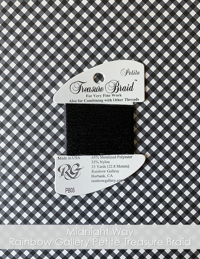 Midnight Way Rainbow Gallery Petite Treasure Braid thread. Black thread on a card placed on a gingham background.
