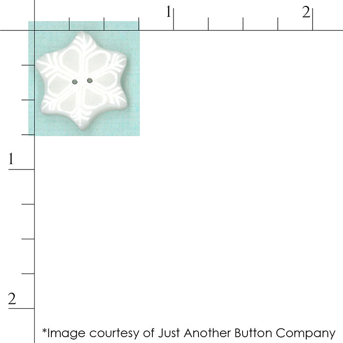 Large Snowflake from Just Another Button Company scale against a ruler.