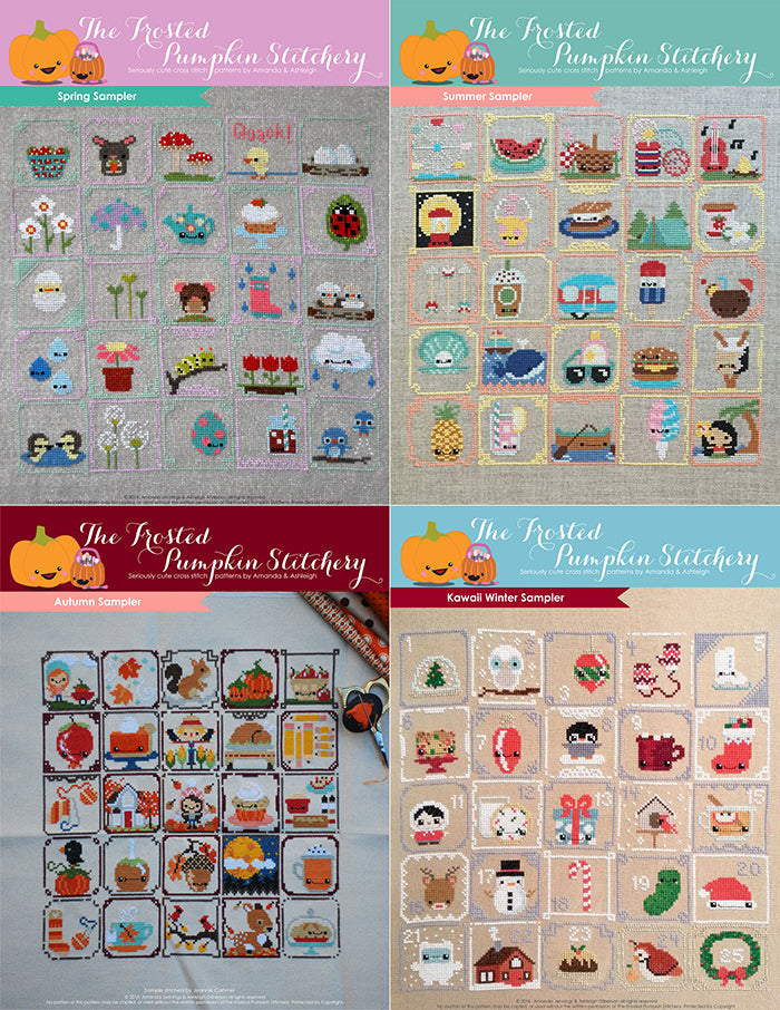 Counted cross stitch patterns in one graphic. Spring sampler, summer sampler, autumn sampler and kawaii winter sampler.