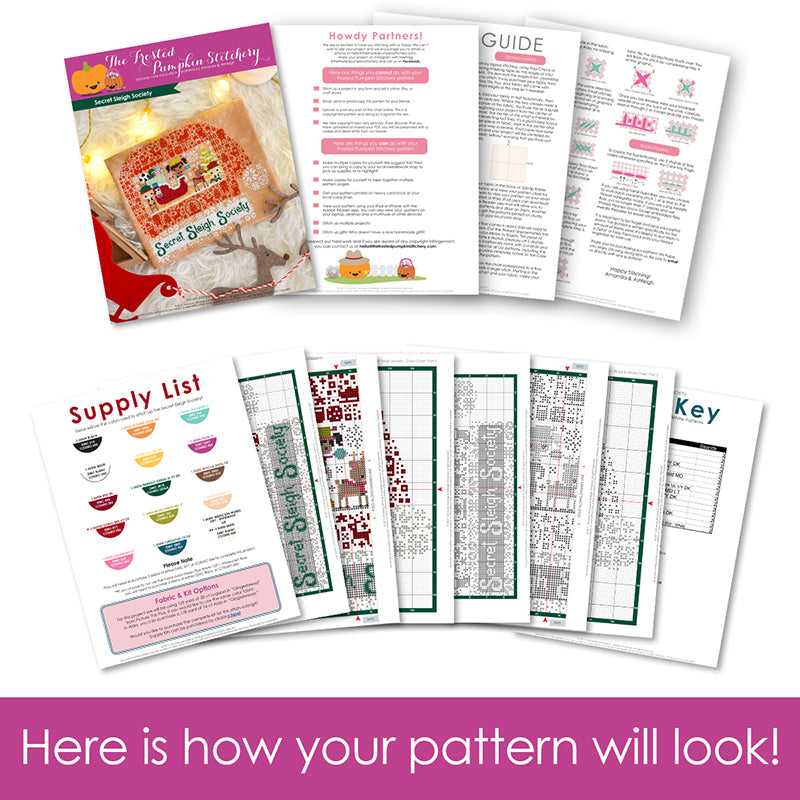 Graphic of how your cross stitch pattern will look. The pages are fanned out.