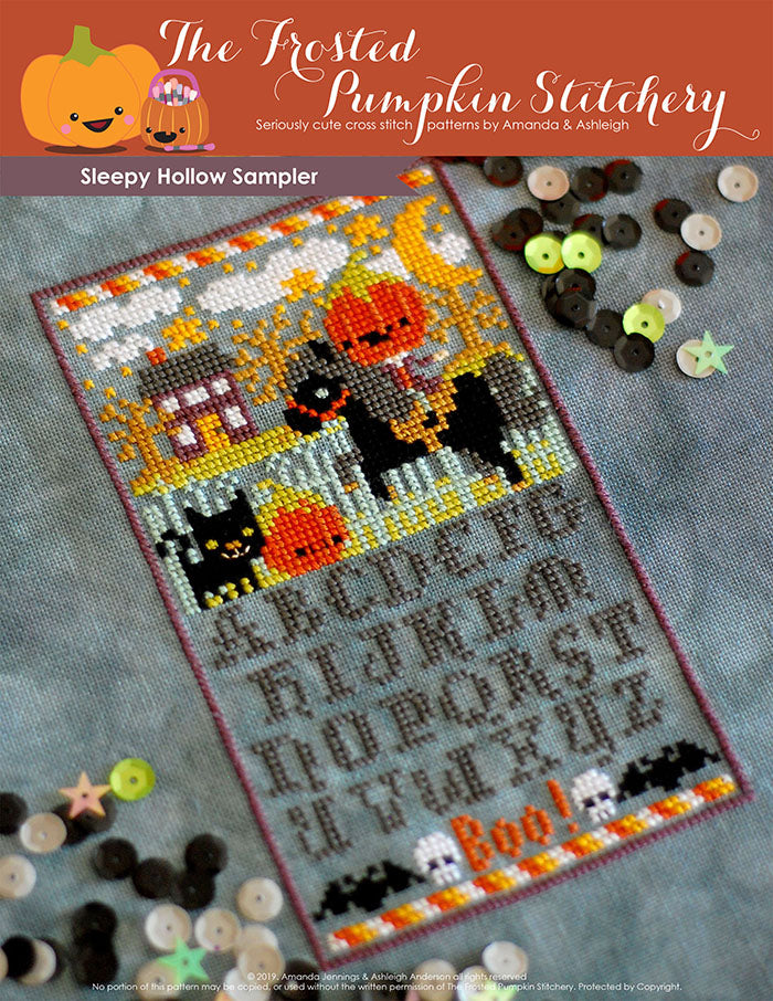 Sleepy Hollow Sampler counted cross stitch pattern. The headless horsemen is riding in the village at night. Alphabet below in a Halloween inspired font.