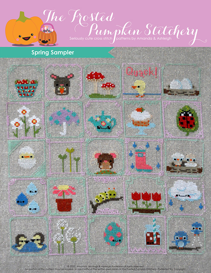 Spring Sampler counted cross stitch pattern features twenty-five squares with different spring elements. Examples are: basket of strawberries, bunny, lady bug and carrot cake.