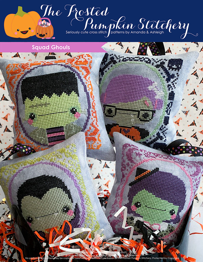 Squad Ghouls counted cross stitch pattern. Chubby pillows with portraits of Frankie Frankenstein, Zoe the Zombie, Drake Dracula and Wanda the Witch.